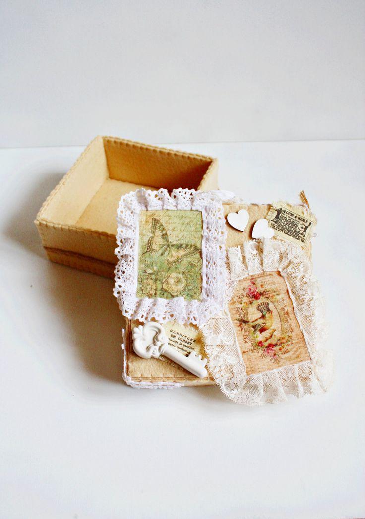 Felt Box Romantic Box Wedding Box Wedding Decor Altered Box Victorian Jewelry Box Wedding Centerpiece Vintage Wedding Keepsake Box Gift Box by FeltGoodiesShop on Etsy