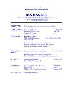 Image result for basic resume template work volunteer school