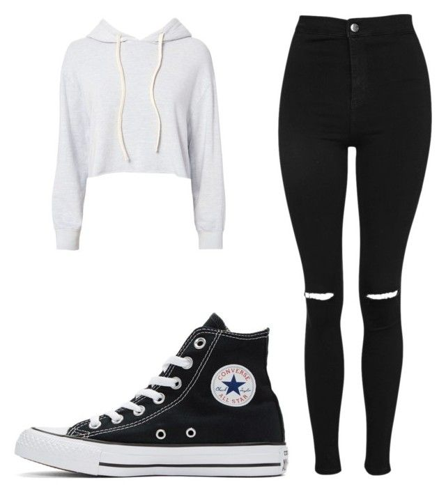 """Untitled #55"" by llaniii on Polyvore featuring Monrow, Topshop and Converse"