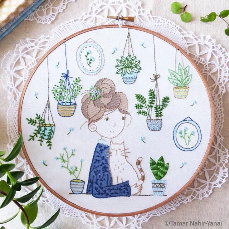 Hair Bun Girl Hand Embroidery Kit In Stitches Pinterest