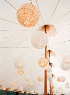 peach and white paper lanterns / photographed by Lisa Lefkowitz