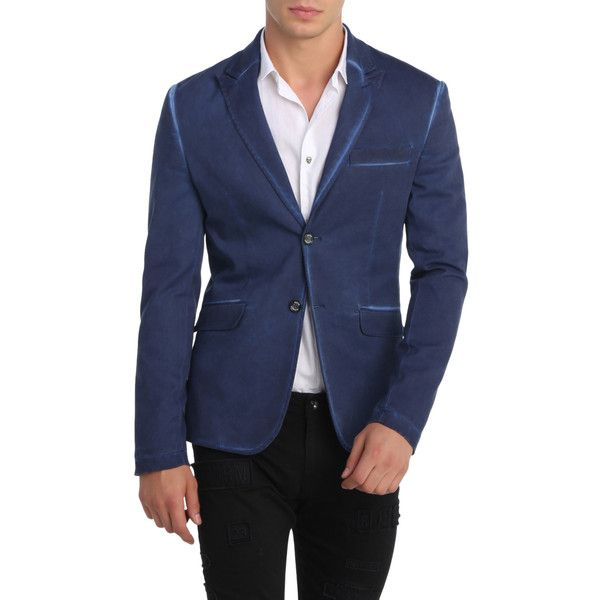 RON TOMSON Men's Washed Peak Casual Blazer - Dark Blue/Navy, Size 3xl (5.865 RUB) ❤ liked on Polyvore featuring men's fashion, men's clothing, men's sportcoats, mens clothing, mens peak lapel blazer, mens navy blue blazer, men's sportcoats and blazers and mens short sleeve blazer