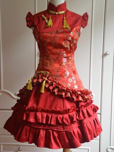 Sweet Red Cascading Ruffles Sleeveless Satin Lolita One-Piece