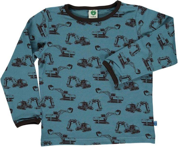 Smafolk l/s tee - Excavator - Blue Retro Baby Clothes - Baby Boy clothes - Danish Baby Clothes - Smafolk - Toddler clothing - Baby Clothing - Baby clothes Online