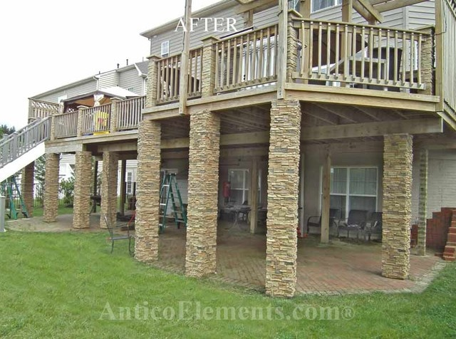 84 best images about decks roofs awnings and railings for Rock pillars on house