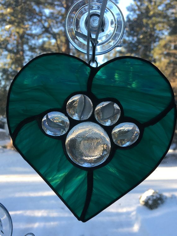 Stained glass paw hearts. Each comes with a suction cup for hanging approximate size 5 x 5 Great gift for pet memorial Animal rescue groups  please pick from available colors