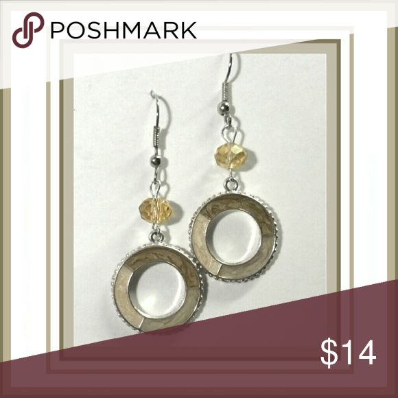 Neutral Ring Earrings Pierced Open Rings below a light amber glass bead hauteROXX Jewelry Earrings