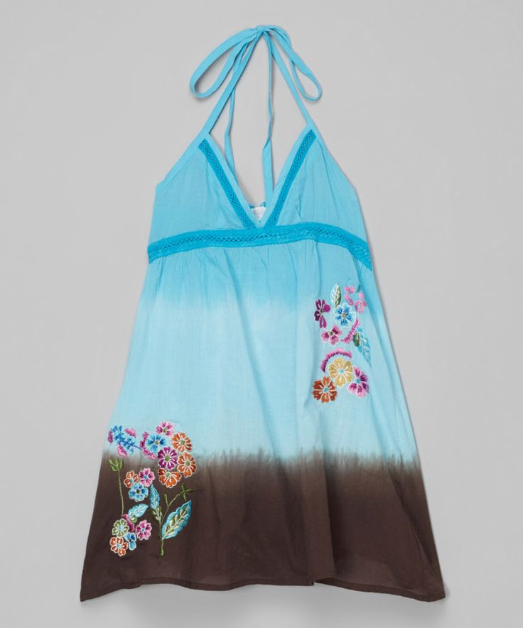 Look at this Blue & Espresso Embroidered Halter Dress - Toddler & Girls on #zulily today!