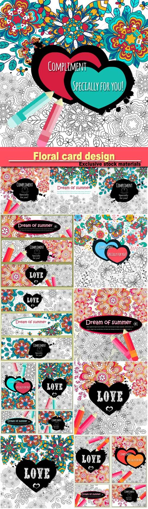 Floral card design, flowers and leaf doodle elements, vector decorative invitation