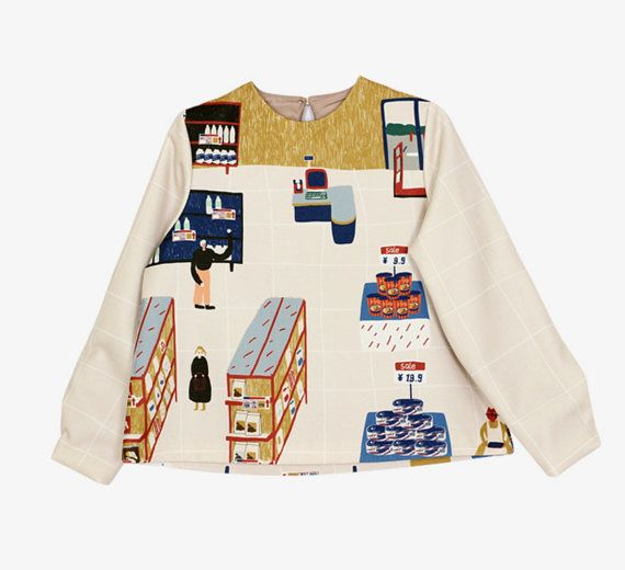 Neverland Collection limited edition  Hand painting Supermarket print, the fabric is a bit thick for cold season.  Fabric: woolen Therere 2 sizes