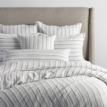 charcoal and ivory striped linen king duvet cover