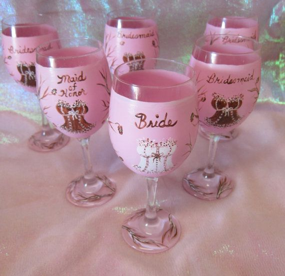 Hand Painted Bridal Shower/Bachelorette Party Goblets with Corsets in Pink Camo