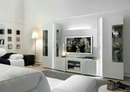 White Tv Cabinet, Living Room Tv, Tv Units, Cabinet Ideas, Tv Cabinets, Tv  Rooms, Interior Walls Part 58