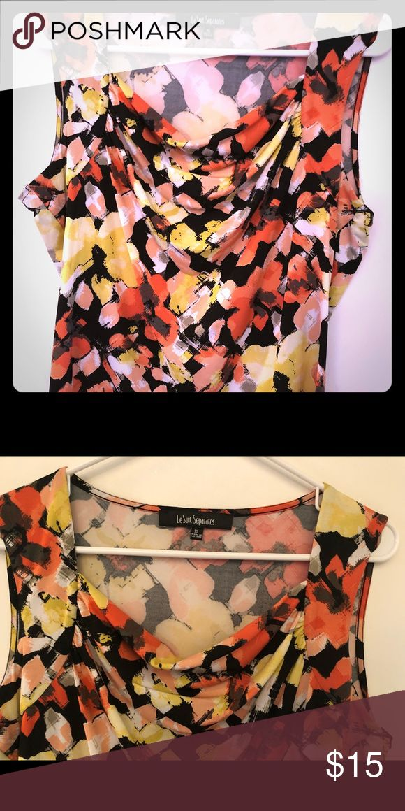 Sleeveless Blouse Orange, peach, yellow, black, grey, and white sleeveless blouse. It has a slouchy neckline and is fun to wear under sweaters or by itself. LeSuit Separates Tops Blouses