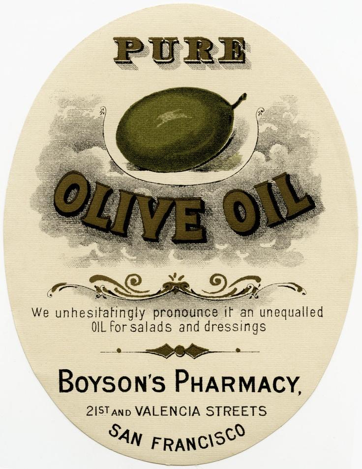 Old Design Shop ~ free digital image: vintage Boyson's Pharmacy olive oil label