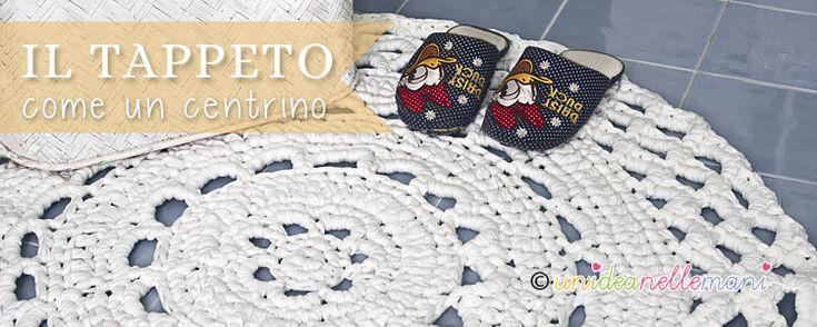 Tutorial con foto, schema e spiegazioni per fare un tappeto all'uncinetto con la fettuccia