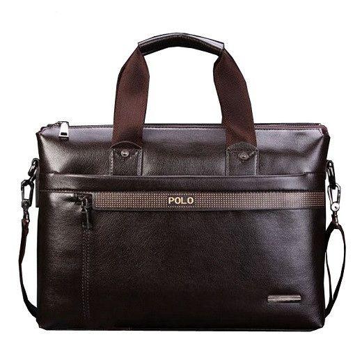 PU Leather Mens Handbags Designer Man Zipper Handbag Messenger Bag for Men Brown Black