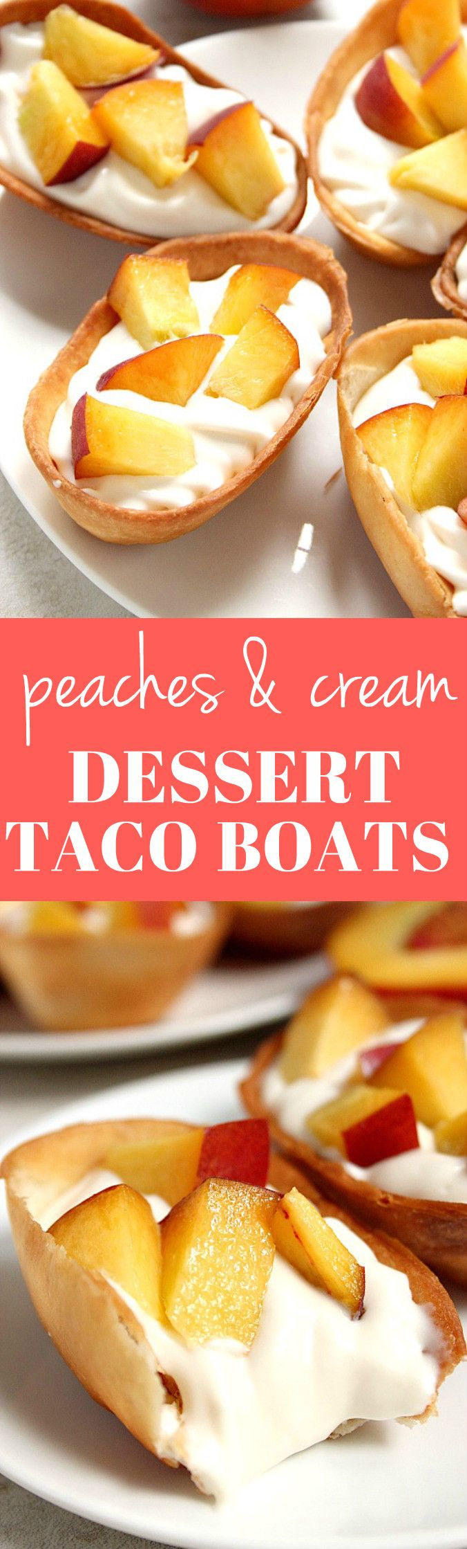 Peaches and Cream Dessert Taco Boats recipe - crispy tortilla taco boats filled with sweet and creamy cheesecake filling and topped with fresh, chopped juicy peaches. This quick and easy dessert disappeared quickly in our house!