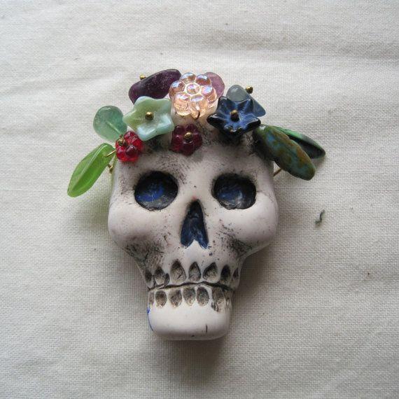 Polymer skull Day of the Dead focal pendant by jdaviesreazor, $25.00