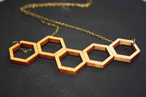 Hexagon chain cedar necklace - $30