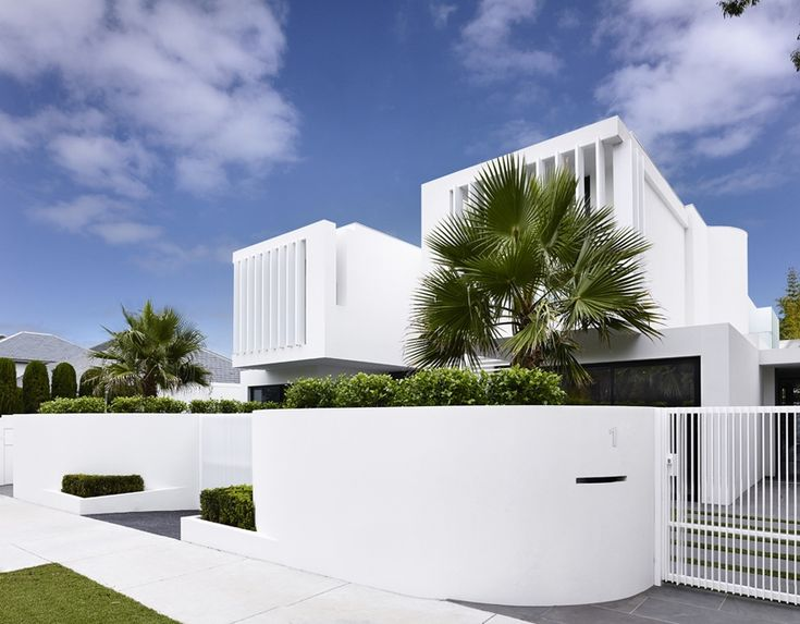 White facade and palm trees in Perfect Modern Townhouse by Martin Friedrich Architects