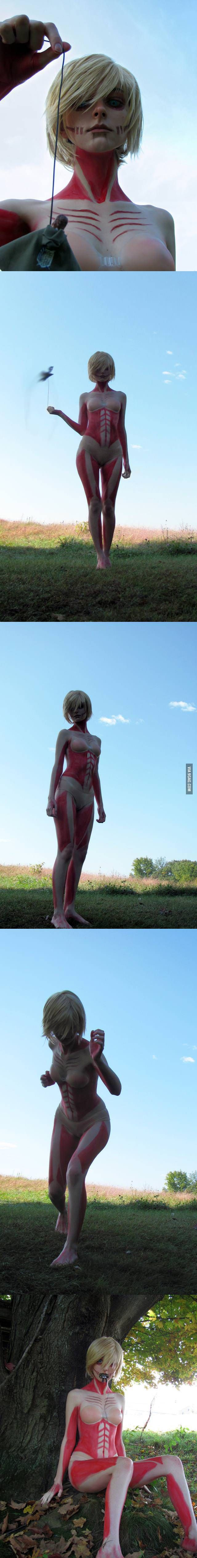 Amazing Attack on Titan cosplay. She looks spectacularly menacing as the Female Titan.