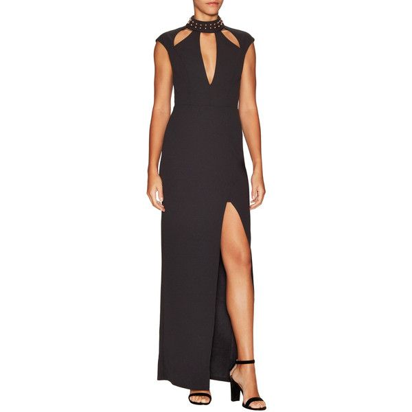 ABS by Allen Schwartz Women's Crepe Scuba Embellished Halter Maxi Gown ($150) ❤ liked on Polyvore featuring dresses, gowns, black, cutout maxi dresses, halter-neck maxi dresses, cutout dresses, cap sleeve maxi dress and halter maxi dress