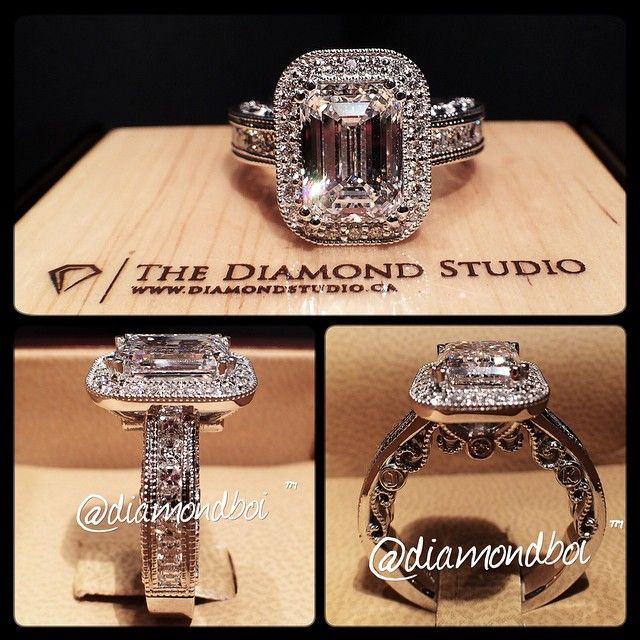 This @diamondboi design was made with an amazing 3.00ct emerald cut diamond. The diamond sits on a bead set halo. The wider shank was designed with Asscher cuts in a channel setting. I then added my scroll work on the gallery along with the clients initials. #diamond #diamonds #wedding #weddings #engagement #ring #rings #bride #brides #jewellery #jewelry #vintage #halo #emerald #diamondboi