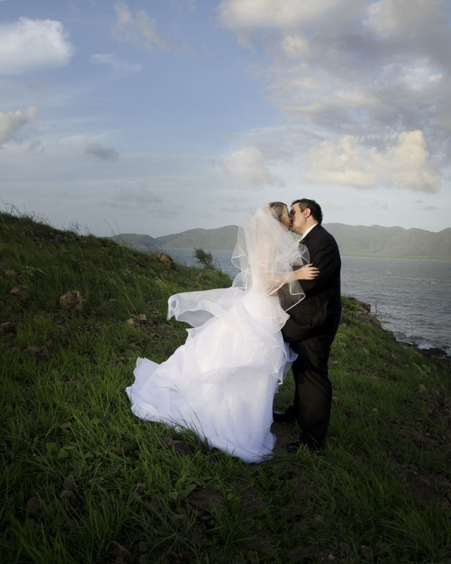 Kylie and Tim, Pallarenda National Park Wedding Townsville North Queensland.(Magnetic Island in background) Image by Allanna Allen of MGM Photography