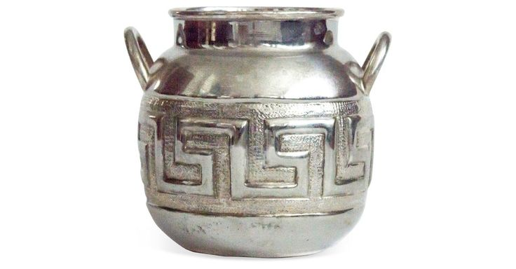 """Beautiful silverplated bowl with handles made in Mexico resembling a traditional Aztec """"olla"""" or cooking pot. The perfect catchall for pens, coins or cooking utensils."""