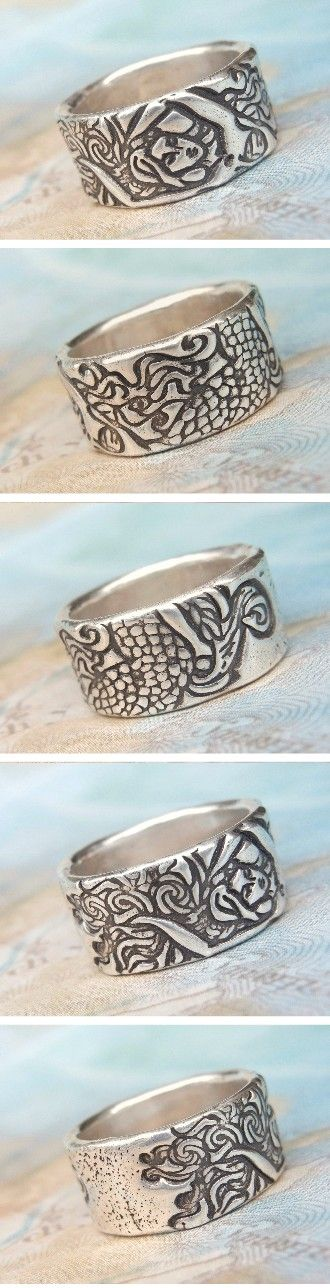 Silver Mermaid Ring by HappyGoLicky Jewelry. CLICK to see 30+ rings designs on www.HappyGoLickyJewelry.com & use 10% off coupon code PIN10 now on ALL handmade jewelry