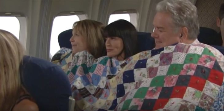 """The Bold and the Beautiful"" spoilers for Wednesday, July 27, tease that things will get awkward for Quinn (Rena Sofer) on her flight to Monte Carlo. Her fellow passengers, Matt (Jim O'Heir) and Kieran (Monica Horan), will get a little too close for comfort. Kieran will cover all three of them up wi"