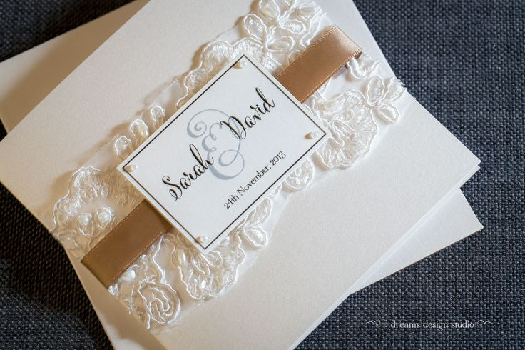 'Glamour'.... ivory lace... pearls and sequins... satin ribbon... a wedding invitation for the classy couple