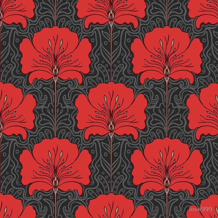 'Art nouveau, pattern,retro,vintage,elegant,chic,red,grey,black,girly,floral,lotus flowers' Floor Pillow by love999