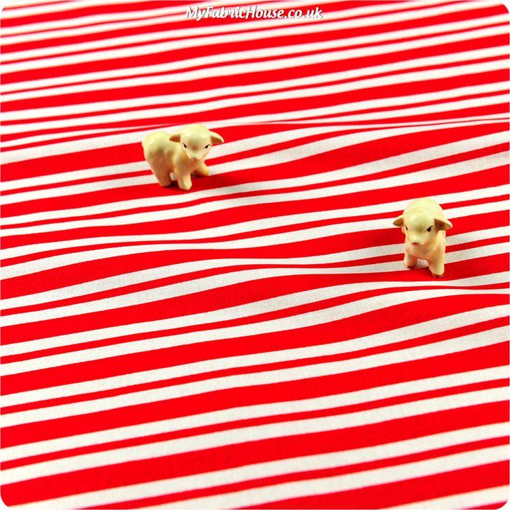 Christmas ♥ 53x49cm Red & White Stripes Cotton Fat Quarter Fabric £2.99