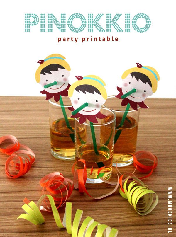 Imprimible Pinocho para pajitas. Ideal para fiestas infantiles (Pay per tweet) >> Pinocchio party printable.