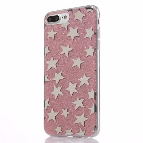 Glitter and Stars Case for iPhone 7, 7 Plus in Pink