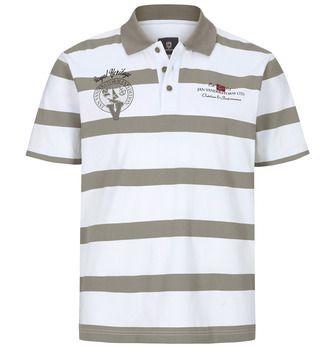 Poloshirt RAYK, weiß-beige-gestreift