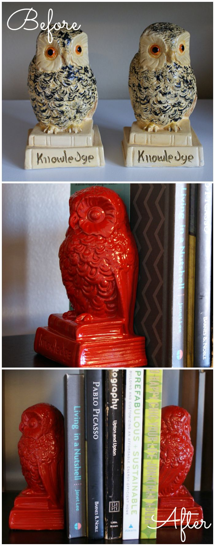 Spray paint vintage bookends for a quick and cheap DIY update. These bright red owls are so cute!