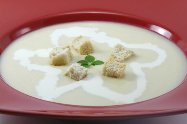 Crema de calabacin con quesitos.