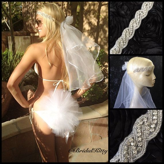 Bachelorette Party Headband Veil. Perfect for Vegas, cruise, pool party, wedding shower, or honeymoon. Bridal Bikini Veil Booty Veil