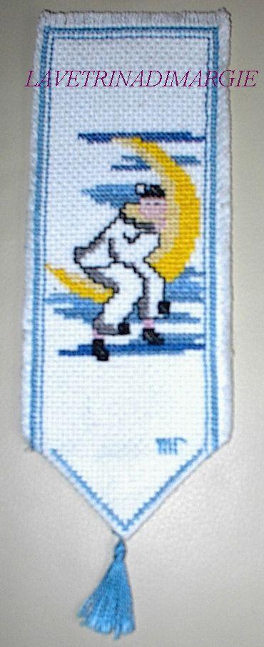 Bookmark pierrot embroidered cross-stitch