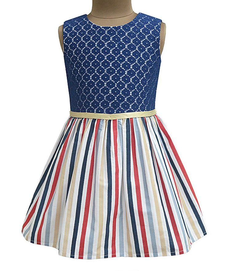 Take a look at this Navy Medallion Fit & Flare Dress - Infant, Toddler & Girls today!
