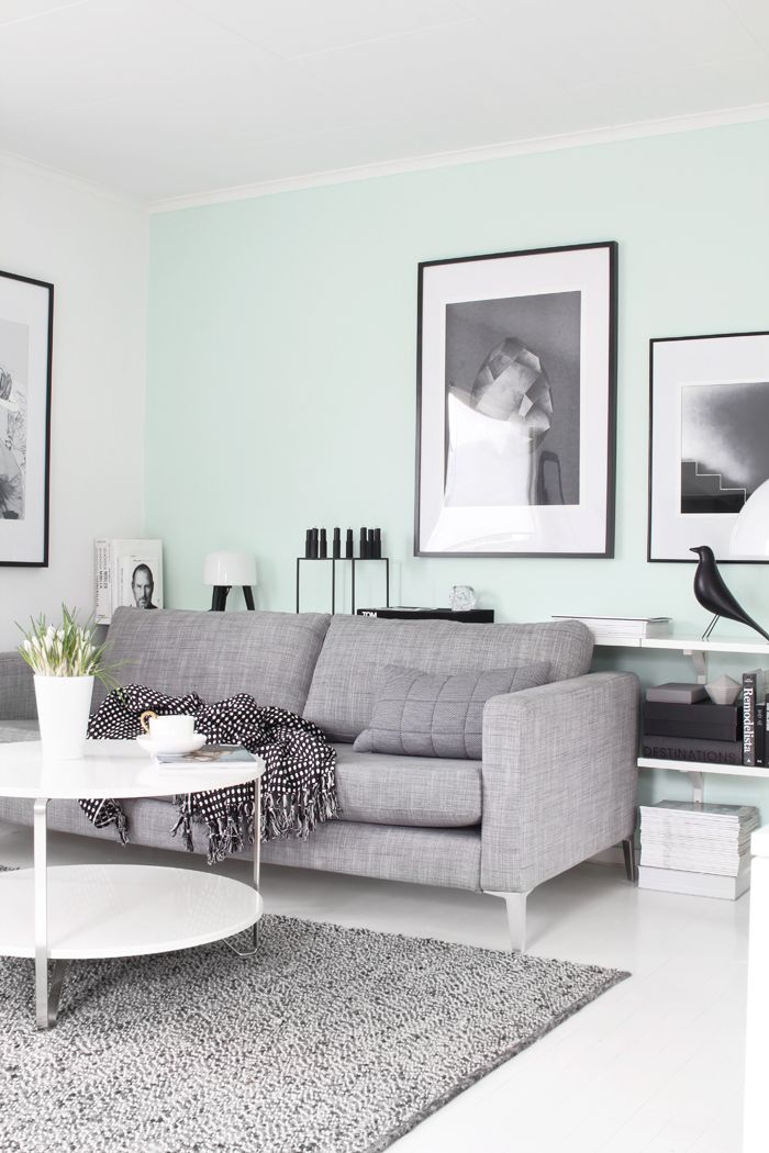 Living room - love the pop of colour on the one wall