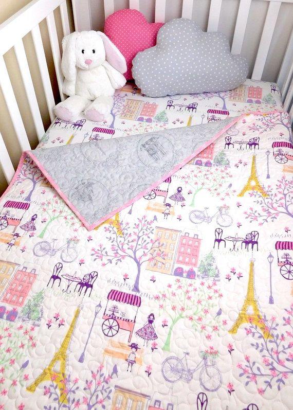 Paris Baby quilt Paris crib quilt Eiffel by BabyQuiltsbyRomiW