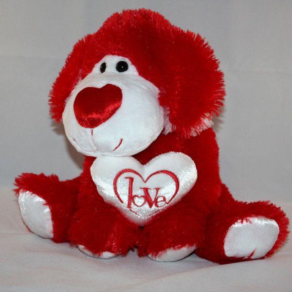 Walmart Valentineu0027s Day Red U0026 White Love Heart Puppy Dog Plush