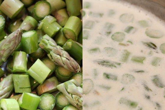 Aspargessuppe med sprøstekt spekeskinke