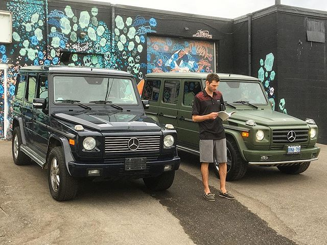 Long Time Client Aaron Is Taking A Quick Look At The Manual Of His New Purchase! He Traded in His 2004 G55 for This 2010 Camo Green G55 AMG! Thanks Once Again To @gtawrapz For Another Amazing Job On The Wrap! #VehicleDirect