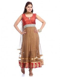 Beige Net Gorgeous Brown Anarkali Suit For Women