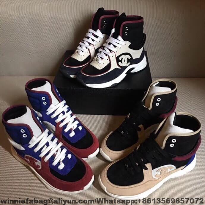 Chanel Suede Calfskin High-top Sneaker